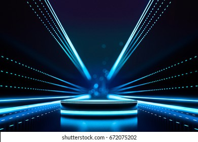 Blank product stand and Abstract background with light and line glowing. Futuristic technology hi tech concept. 3d Rendering.