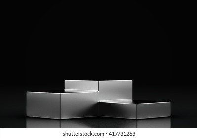 Blank product stand and Black background.3d Rendering.