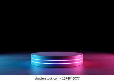 Blank product stand with neon lights on dark background. 3d rendering