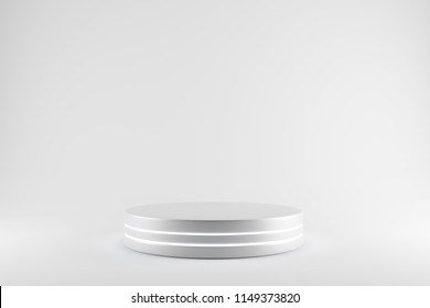 Blank product stand neon on white bright background. 3d rendering