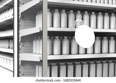 Blank products on supermarket racks and round wobbler. Mockup. 3d illustration. 3d rendering.