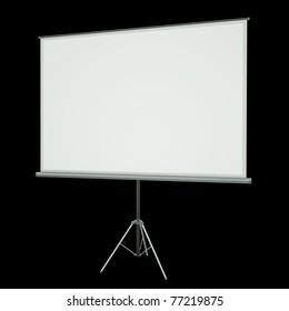 Blank projection screen over black background. 3D rendered image