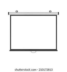 the blank projector screen isolated for presentation in business of paper illustration