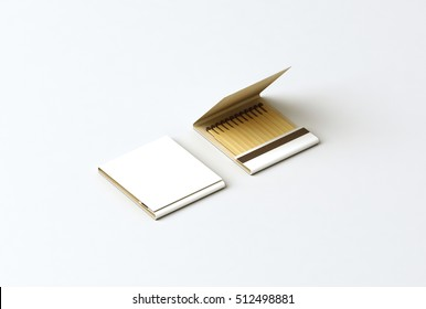 Blank promo matches book mock up, clipping path, 3d rendering. Empty paper match box packaging mockup. Matchbook case top side view ready for logo design presentation. Opened matchbox presentation.