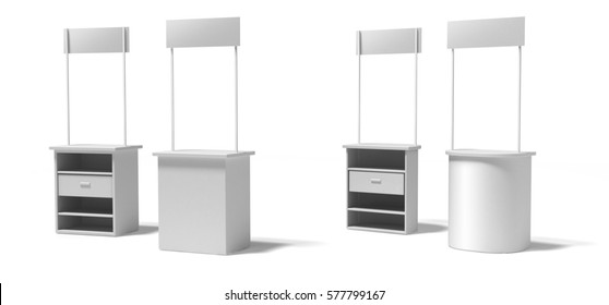 Blank promotion stands or counter on a white background. front and back.3d illustration, template BTL (below-the-line). booth, exhibition, table