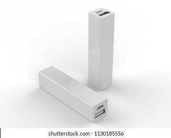 Blank Promotional Portable power bank for Smart phone. 3d Render Illustration.