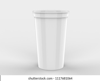 Blank Promotional Stadium Cup For Branding and mock up. 3d rendering illustration.