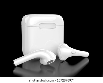 Blank promotional wireless earbuds. 3d render illustration.