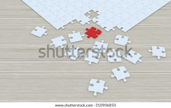Blank puzzle on top wooden texture.