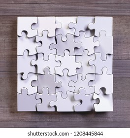 Blank puzzle in square format with wooden background. Concept of modern art using simple objects. 3D illustration.