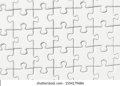Blank puzzles arranged neatly with white background, 3d rendering. Computer digital drawing.