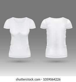 Blank realistic 3d white woman t shirt template isolated. Mockup tshirt female, fashion classic wear illustration