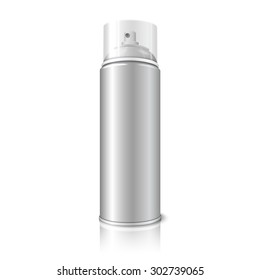 Blank realistic aerosol spray metal 3D bottle can with transparent cap isolated on white background with reflection. For design of the paint, graffiti, deodorant, foam, cosmetics etc.