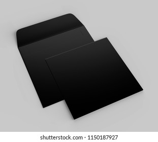 Blank realistic square straight flap envelopes mock up. 3d rendering illustration.