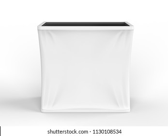 Blank Rectangle Fabric Tension Counter Table. 3d render illustration.