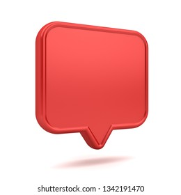 Blank red 3d speech bubble pin icon isolated on white background with shadow 3D rendering