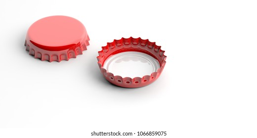 Blank, red beer caps, isolated on white background, front and back view, space for text. 3d illustration