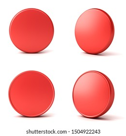Blank red button or badge isolated on white background with shadow 3D rendering