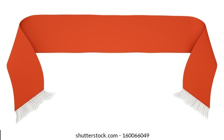 Blank red football scarf isolated on a white background. 3D render
