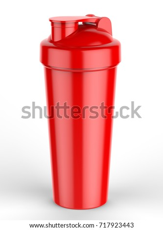 blank red plastic shaker bottle for mock up and template design 3d render illustration