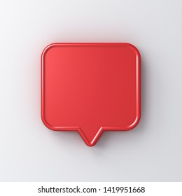 Blank red speech bubble pin isolated on white background with shadow 3D rendering