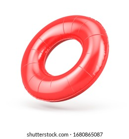 Blank red swim ring isolated on white. Summer inflatable - round swimming ring. 3d rendering