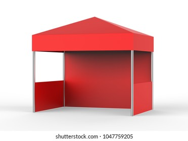 Blank Red tent on white background, 3d illustration.