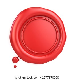 Blank red wax seal isolated on white. 3d rendering
