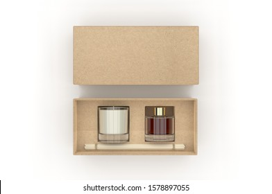 Blank Reed Diffuser Gift Set Boxed Aroma Rattan Stick Fragrance Scent Perfume For Template. 3d render illustration.