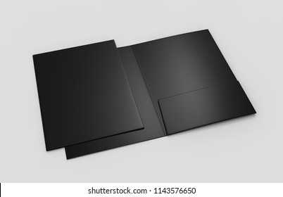 Blank reinforced A4 single pocket folder catalog on grey background for mock up. 3D rendering illustration.