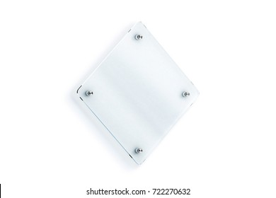 Blank rhombus glass sign plate wall-mounted mockup, 3d rendering. Clear rhomboid shape acrylic signboard name plate mock up. Empty nameplate holder fixed on white wall. Office door glassy signage.
