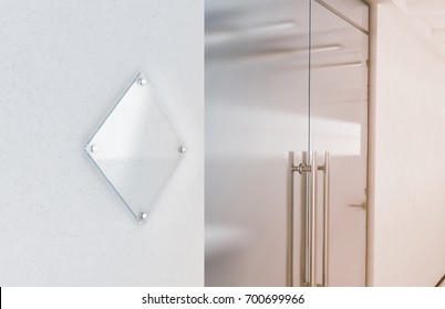 Blank rhombus transparent glas sign plate mockup, 3d rendering. Nameplate mock up on the wall near office entrance interior. Signage panel, store door perspex. Clear printing board for branding