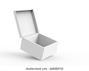 blank right tilt 3d rendering open box for stage prop use, isolated white background elevated view