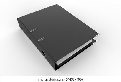 Blank ring binder folder design mockup. Self-binder mock up with stack of a4 paper. Office supply cardboard folder branding presentation. Desk lever arch file cover. 3d illustration