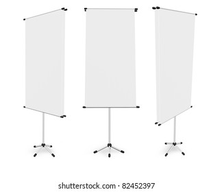 blank roll up banner display (3D render) template for design work