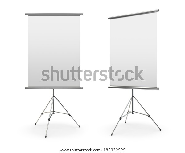 Blank roll up banner display on white background