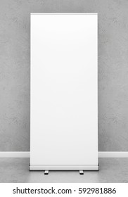 Blank roll up banner template. 3D rendering