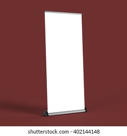 blank roll up banners  template . 3D rendering isolated on color background mock up