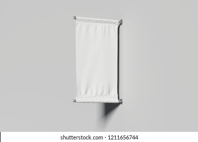Blank roll up from white fabric on white background, 3d rendering.