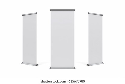 Blank roller banner set. 3d illustration isolated white background