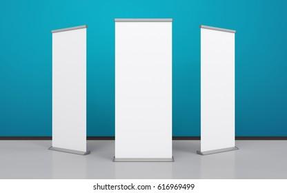 Blank roller banner set. 3d illustration