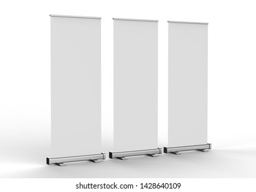 Blank roll-up banner display, isolated, 3d render illustration.