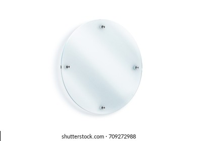 Blank round glass sign plate wall-mounted mockup, 3d rendering. Clear circular acrylic signboard design mock up. Empty shiny nameplate holder fixed on white wall. Office door glassy signage template.