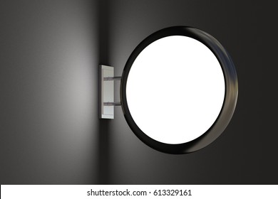 Blank round light box sign mockup on dark blank wall. With clipping path. 3d render