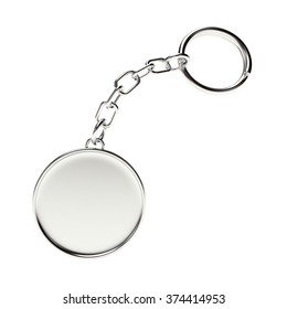 Blank round metal key chain with key ring isolated on white background