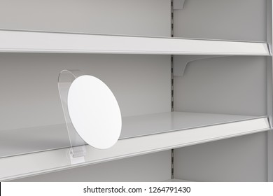 Blank round shelf advertising wobbler label or stopper on empty shelf. Include clipping path around label. 3d illustration