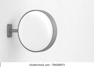 Blank round signboard on the wall, 3D illustration