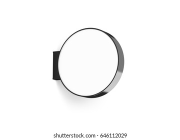 Blank round store signage design mockup isolated, 3d rendering. Empty circular light box mock up. Clear shop lightbox template. Street sign hanging mounted on the wall. Signboard for logo presentation