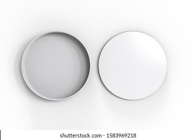 Blank round tin container for branding and design. 3d render illustration.