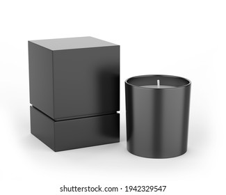 Blank Scented Candle With Paper Box Packaging For Branding And Mock up, 3d render illustration.